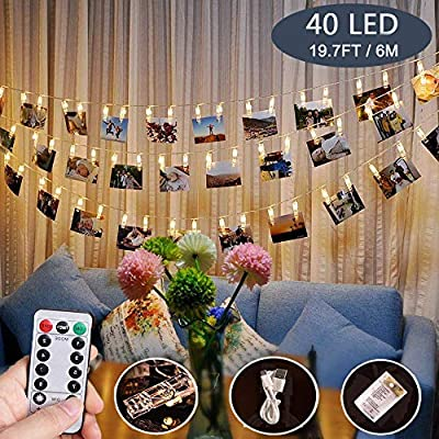 Photo-Clips-String-Lights,40-LED-Fairy-String-Lights-for-Hanging-Pictures,8-Lighting-Modes-USB/Battery-Powered-Decor-Lights-with-Remote-for-Bedroom-Wedding-Parties-(19.7-ft/Warm-White)
