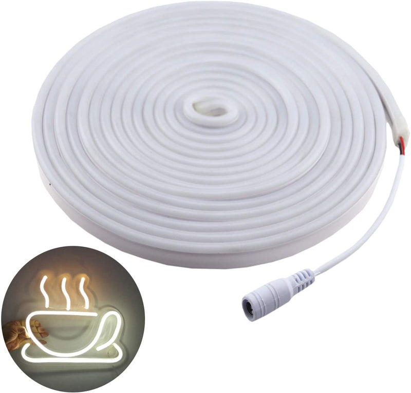 16.4ft-Dimmable-White-led-Light-Strip-Flexible-Silicone-LED-Neon-Rope-