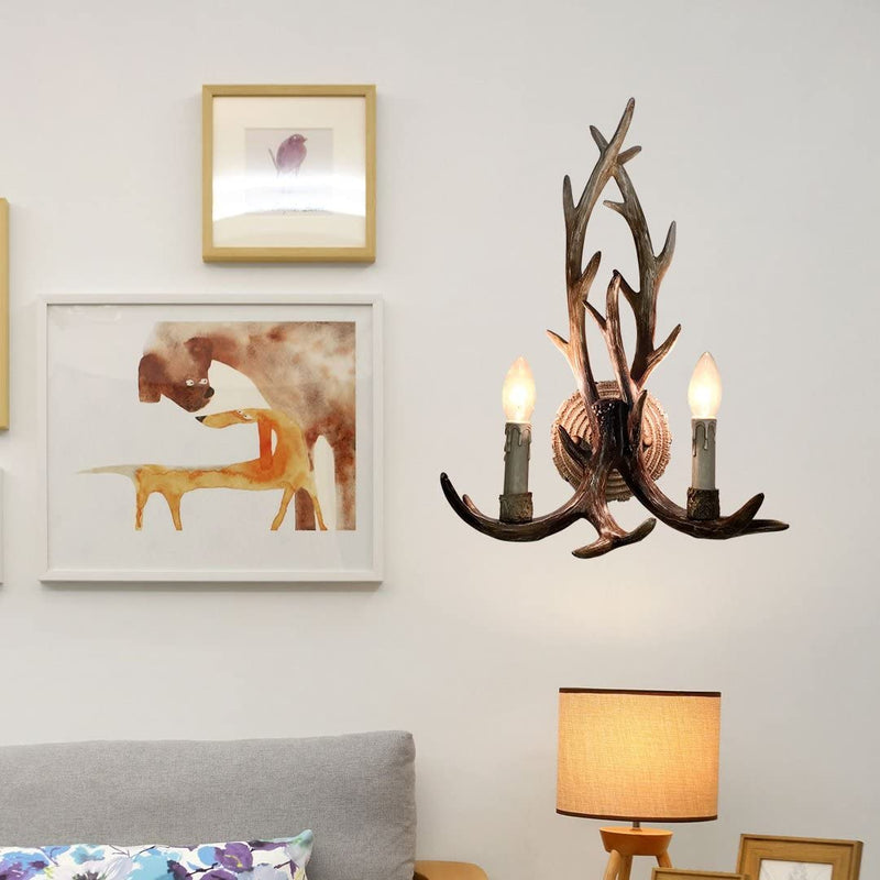 Resin-Antler-Wall-Sconce-2-Light-14.5'-Diameter-X-18.9'-Tall-with-(Bul