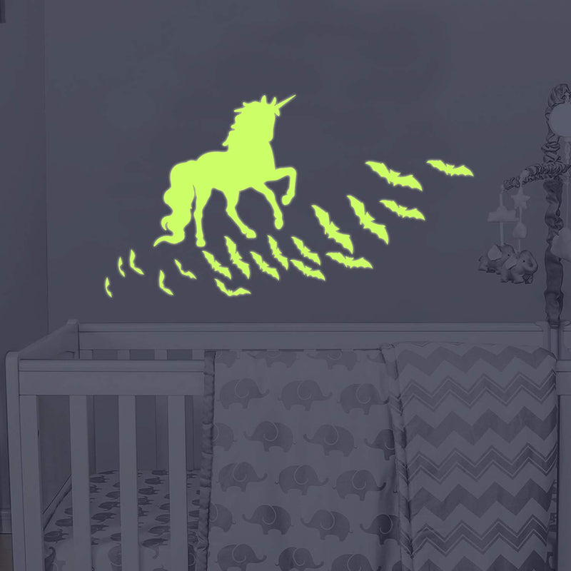 Unicorn-bat-Vinyl-Wall-Decals-Glow-in-The-Dark-Stars-DIY-Kids-Girls-Be