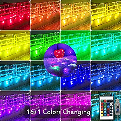 Color-Changing-Icicle-Lights-Window-Curtain-Lights,-USB-Remote-Control-Backdrop-Fairy-Lights-Starry-Outdoor-String-Lights-for-Christmas,-Wedding,-Party-Decorations-10ft-x-2ft(Multiple-Color)