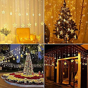 Star-Curtain-String-Lights,-12-Star-138-LED-Window-Lights-Waterproof-12-Strings-with-8-Flashing-Modes-RF-Remote-Decoration-for-Christmas,-Wedding,-Party,-Home,-Patio-Lawn,-8.2ft-x-3.2ft-(LxW)