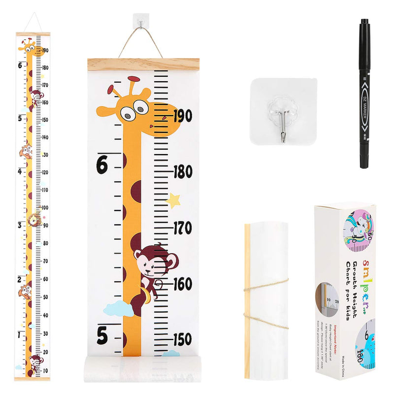 Growth-Chart-for-Kids,Roll-up-Height-Chart-for-Boys-Girls,Wood-Frame-F