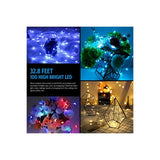 Fairy-Lights,-33-ft-100-LED-Plug-in-String-Lights-with-Remote,-4-Multicolor-Modes-Starry-Lights,-16-Colors-x-8-Lighting-Modes-Indoor-Decorative-Lights-for-Bedroom,-Party,-Wedding-(132-Modes)