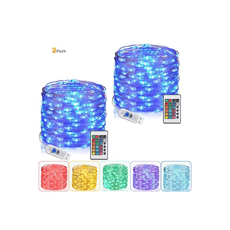 2-Pack-Fairy-Lights,-Lights-for-Bedroom-with-Remote-Plug-in-Led-String-Lights,-16-Color-Changing-Lights-USB-Fairy-Lights-for-Patio-Indoor-Party-Costume-33-Ft-100-LEDs,-Multicolor-Lights