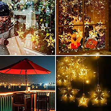 LED-12-Stars-Curtain-Lights---138-LEDs-Window-Icicle-Christmas-Lights-8-Modes-Decorative-Backdrop-Fairy-String-Lights-for-Outdoor-Indoor-Home-Bedroom-Wedding-Party-Holiday-Wall,-Warm-White