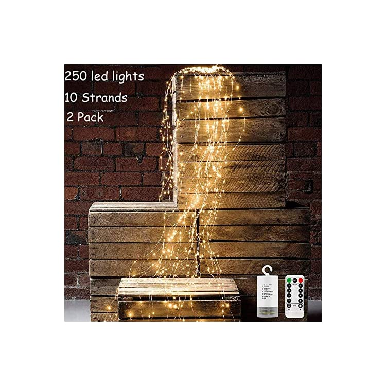 Upgrade-Waterfall-Curtain-Lights-Battery-Powered-Strand-Lights-10-Strands-250-LEDs-Warm-White-Spray-Fairy-String-Lights-with-8-Modes-Remote-for-Garden-Indoor-Outdoor-Decor-2-Pack