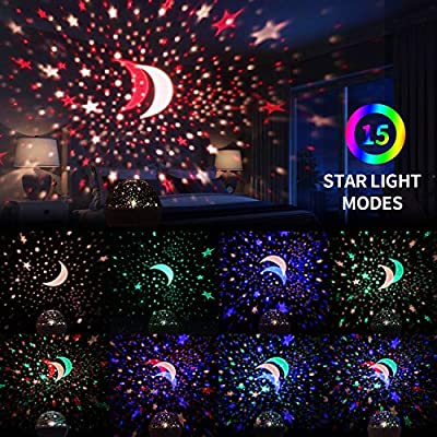 Star-Projector,-Night-Lights-for-Kids-360-Degree-Rotating-Star-Moon-Projection-Lamp-with-LED-Timer-Auto-Shut,-Multicolor-Stars-Night-Light-Projector-for-Room-Decor,-Christmas-Gift-for-Kids-(White)