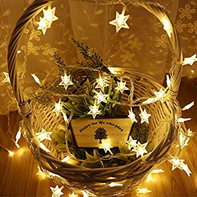 Twinkle-Star-String-Lights,-20pcs-LED-Warm-White-LED-Star-String-Lights-USB,-Indoor-Battery-Operated-LED-Five-Pointed-Star-String-Lights-for-Christmas-Party-Patio-Garden-Bedroom-Wedding-Decor