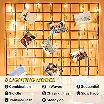 Photo-Clips-String-Light,33-ft-100-LED-Waterproof-Fairy-String-Lights-with-100-Clips,-Battery/USB-Powered-String-Lights-with-Photo-Clips-8-Lighting-Modes-for-Bedroom-Christmas-Wedding-Parties