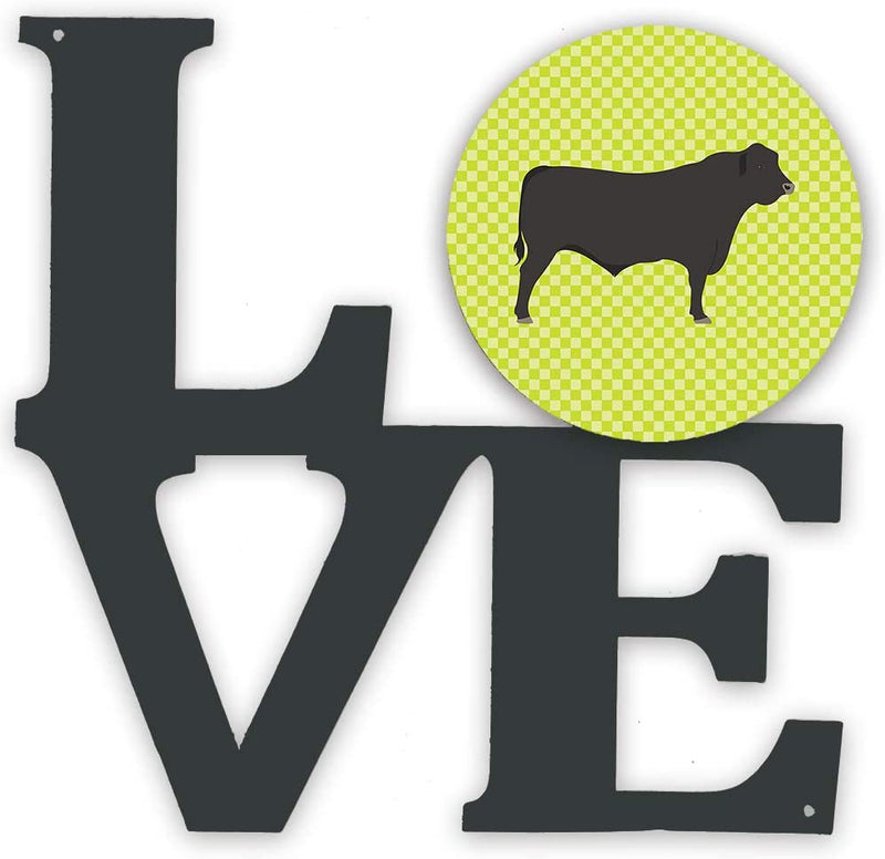 Caroline's-Treasures-Black-Angus-Cow-Green-Metal-Artwork-Love-Wall-Dec