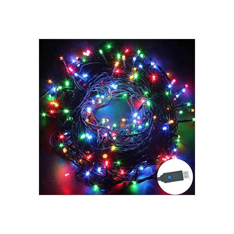 USB-String-Lights-Twinkle-Fairy-Lights,-39Ft-100-LEDs-Starry-Lights-USB-Powered-Supply-8-Dimmable-Light-Waterproof-Lighting,-for-Christmas-Party-Wedding-Gazebo-Home-Indoor-Outdoor-Decor,-Multi-Color