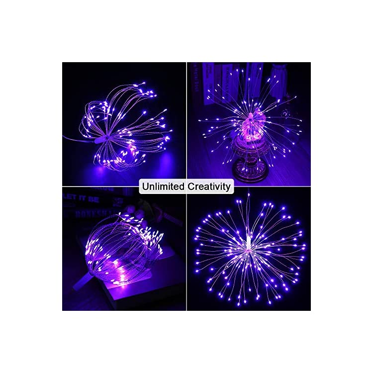 2-Pack-LED-Starburst-Lights,-8-Modes-120-LED-Dimmable-Fairy-Lights,-Twinkle-Fireworks-String-Lights,-Waterproof-Battery-Operated-with-Remote-Control-for-Home,-Patio,-Parties,-Wedding-(Purple)