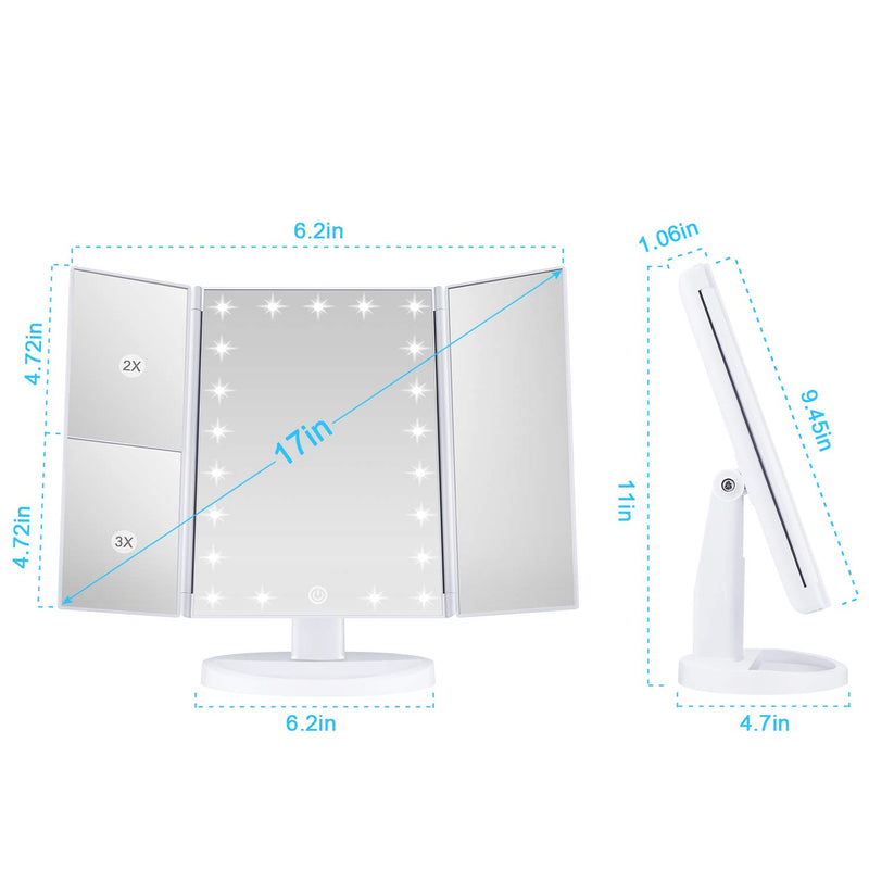 Makeup-21-Led-Vanity-Mirror-with-Lights,-1x-2x-3x-Magnification,-Touch