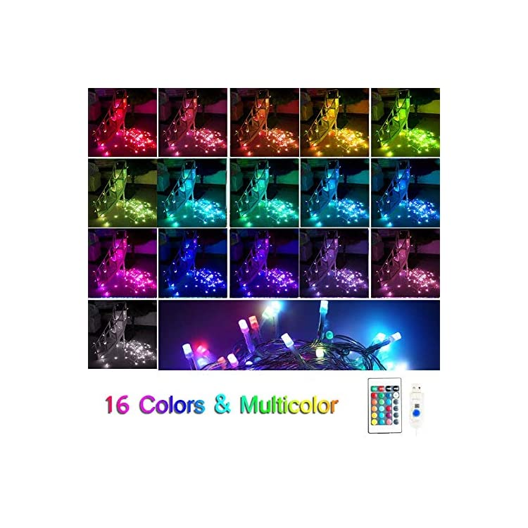 16-Color-Changing-String-Lights,100LED-USB-Powered-Icicle-Fairy-String-Lights-with-Remote-Control,-Twinkle-Lights-for-Bedroom-Parties,Weddings-Decorations-(Multi-Color)