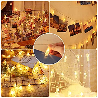 Photo-Clip-String-Lights-60-LED-30ft-USB/Battery-Operated-Christmas-Fairy-Lights-8-Modes-Indoor-String-Lights-for-Hanging-Pictures-Cards-Memos-Home-Party-Wedding-Wall-Decor-Gifts,-Warm-White