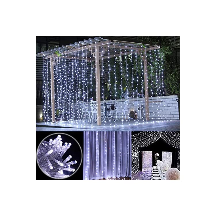 300-LED-Window-Curtain-String-Light-with-Remote-Control-Timer-for-Christmas-Wedding-Party-Home-Garden-Bedroom-Outdoor-Indoor-Decoration,-White