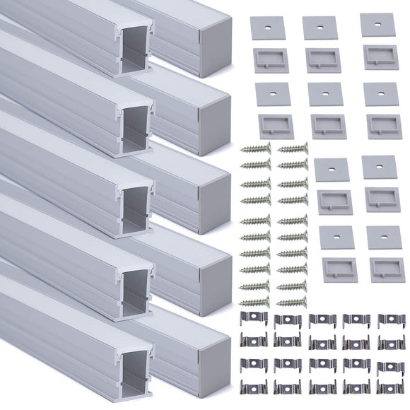 Embedded-Built-in-LED-Channel-with-White-Cover-Lens-for-Stairs-and-Wodden-Floor,Silver-Aluminum-Extrusion-Profile-Housing-Diffuser-Track-for-Strip-Tape-Light,3.3FT/1M-10PACK-U113-1M-WW,-LS2
