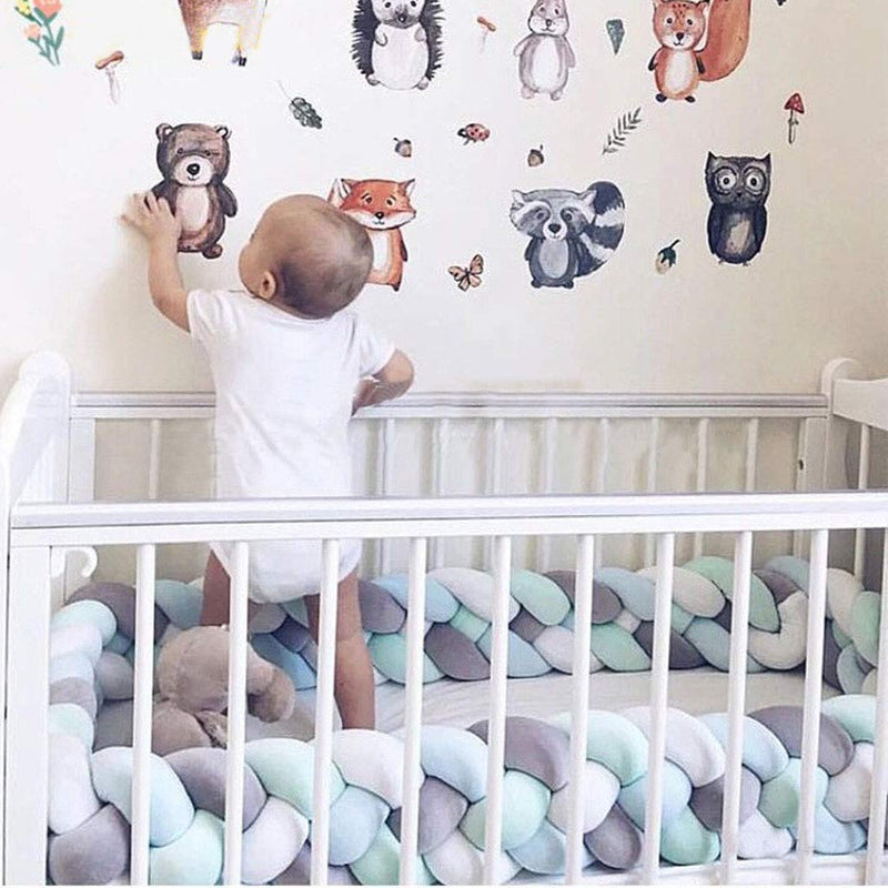 Baby-Braided-Crib-Bumper-Knotted-Bumper-Plush-Toodle-Bed-Protective-Nu