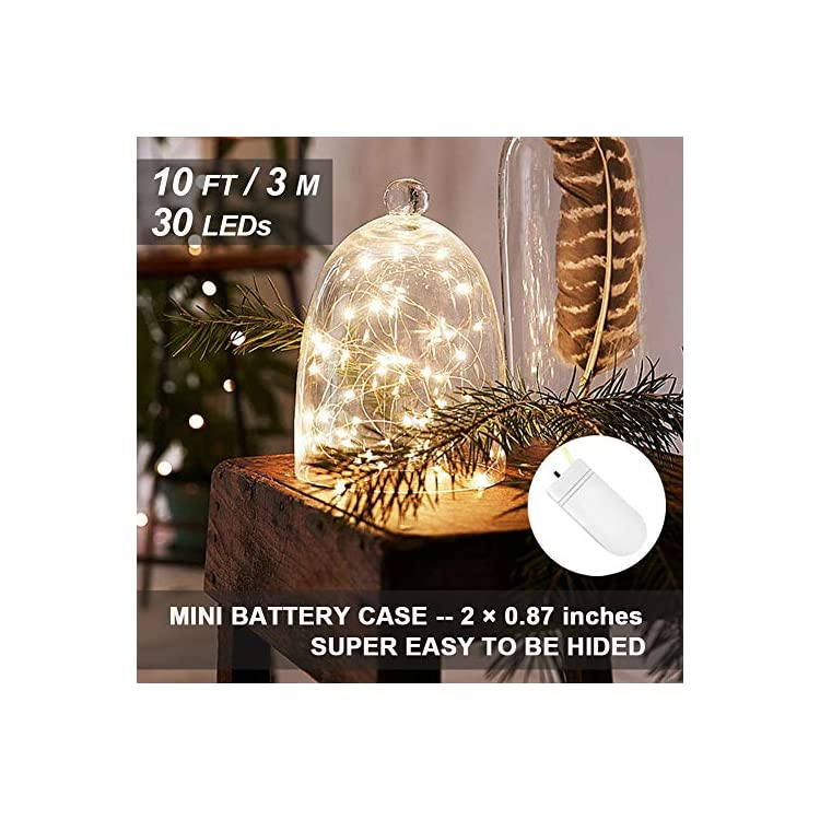 16-Pack-Fairy-Lights-Battery-Operated-(Included)-10ft-30-LED-Mini-String-Lights-Waterproof-Copper-Wire-Firefly-Starry-Lights-for-DIY-Wedding-Party-Mason-Jars-Christmas-Decorations,-Warm-White