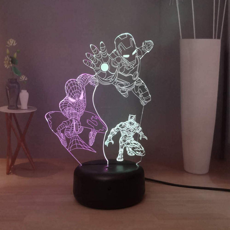 Marvel-Spider-Man-Iron-Man-Black-Panther-3D-Acrylic-Desk-Lamp-LED-Nigh