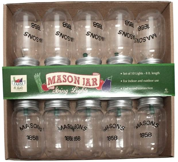 Farm-to-Table-Mason-Jar-8-ft-Indoor/Outdoor-String-Lights,-10-Clear