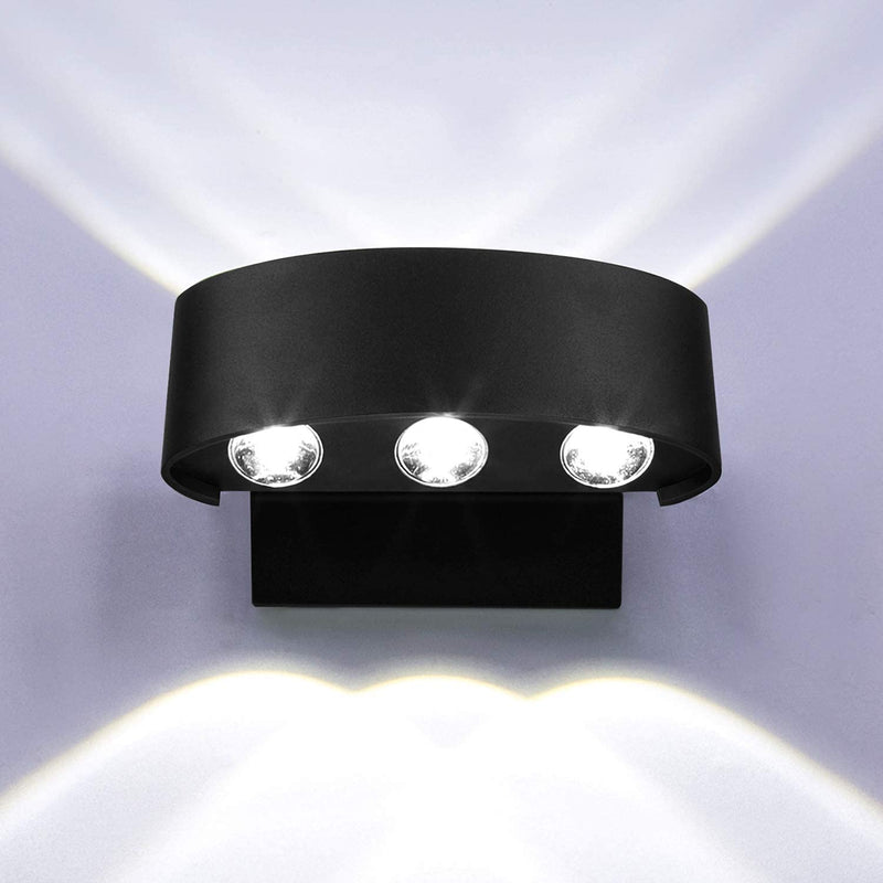 Up-Down-Wall-Lights-Outdoor-Indoor-LED-Sconce-Waterproof-6W-Black-Fini