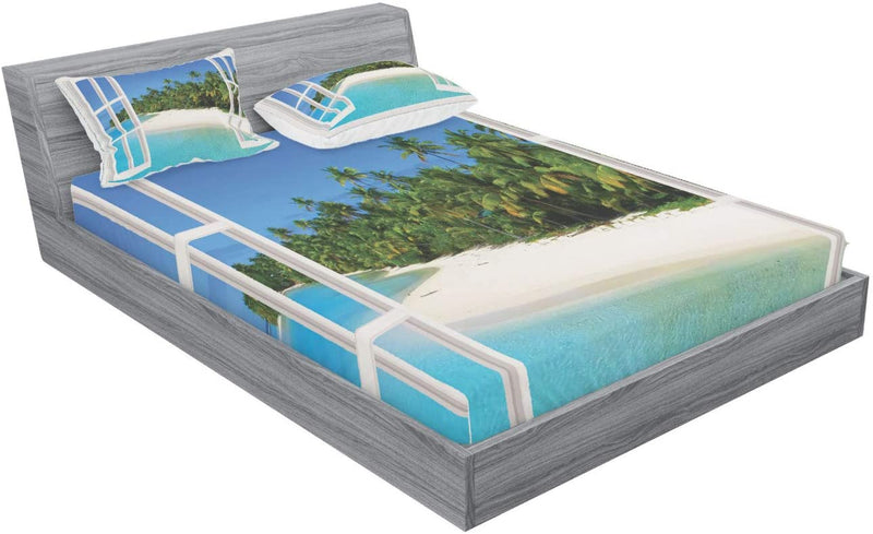 Ambesonne-Ocean-Fitted-Sheet-&-Pillow-Sham-Set,-Paradise-Island-View-f