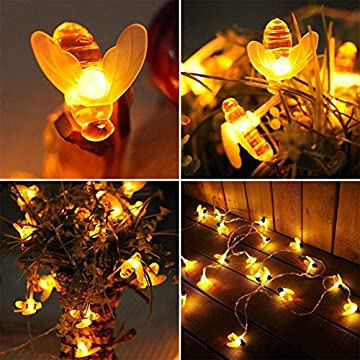 Honey-Bee-String-Lights---20-FT-40-Steady-On/Flash-Led-Lights---Battery-Operated---Warm-White---Thanksgiving-Christmas-Party-Decorations-Indoor