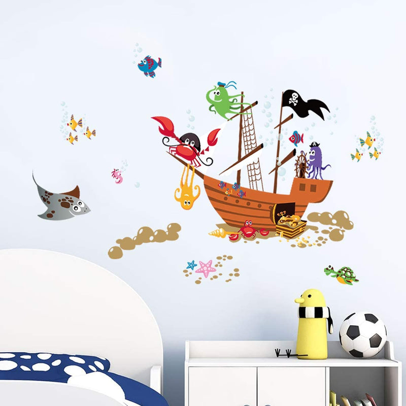 ufengke-Pirate-Ship-Animal-Wall-Stickers-Crab-Octopus-Bubbles-Wall-Dec