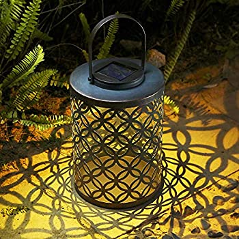 Outdoor-Lantern,-IP44-Waterproof-Hanging-Solar-Lantern-Bronze-Finished
