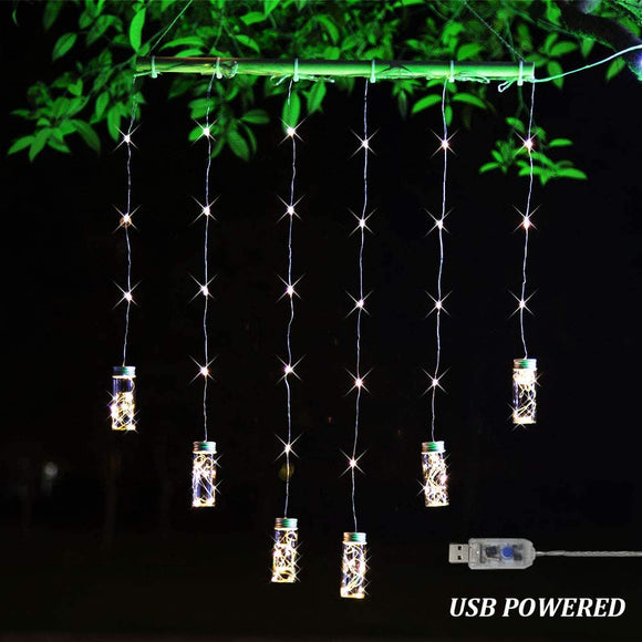 Mason-Jar-String-Curtain-Light,-Remote-Control-LED-Wind-Chime-Hanging-Lights-Wall-Sconces-Fairy-Lights-for-Christmas,-Festival,-Wedding,-Party,-Garden-Decor---Warm-White