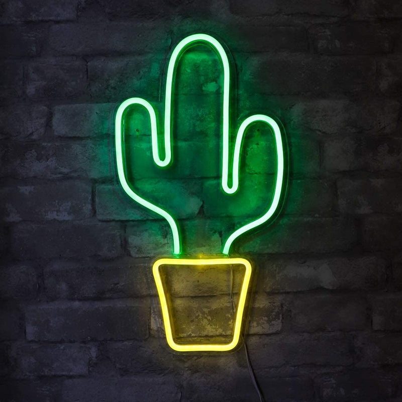 "19""-x-10""-inch-LED-Neon-Green-Cactus-with-Yellow-Planter-Wall-Sign-for"