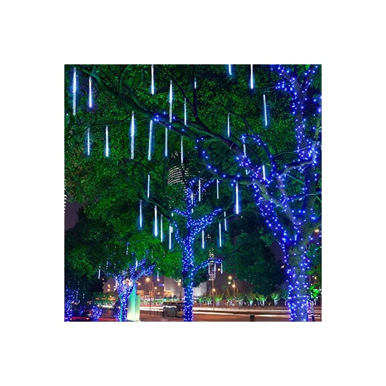 Rain-Drop-Lights,-LED-Meteor-Shower-Lights-11.8-inch-8-Tubes-144leds,-Icicle-Snow-Falling-Lights-for-Xmas-Halloween-Party-Holiday-Garden-Tree-Christmas-Thanksgiving-Decoration-Outdoor-(Blue)