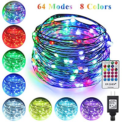 ErChen-64-Modes-7-Colors-+-Multicolor-LED-String-Lights,-Plug-in-RF-Remote-33-FT-100-Upgraded-RGB-LEDs-Color-Changing-Silver-Copper-Wire-Fairy-Lights-with-Timer-for-Indoor-Outdoor-Christmas