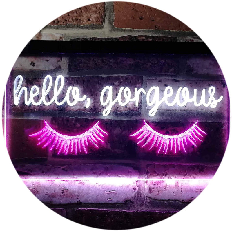 Hello-Gorgeous-Eyelash-Room-Display-Dual-Color-LED-Neon-Sign-White-&-P