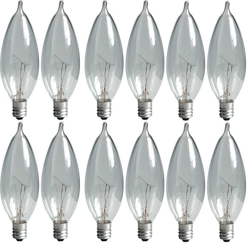Crystal-Clear-24782-40-Watt,-370/280-Lumen-Bent-Tip-Light-Bulb-with-Candelabra-Base,-12-Pack