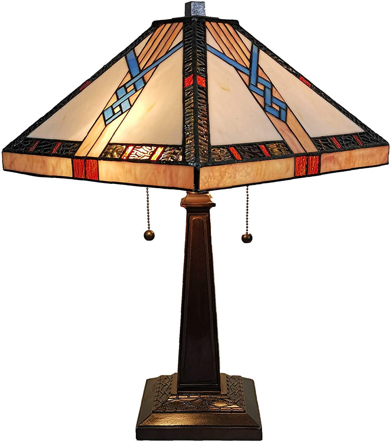 Tiffany-Style-Table-Lamp-Banker-Mission-23'-Tall-Stained-Glass-Tan-Blu