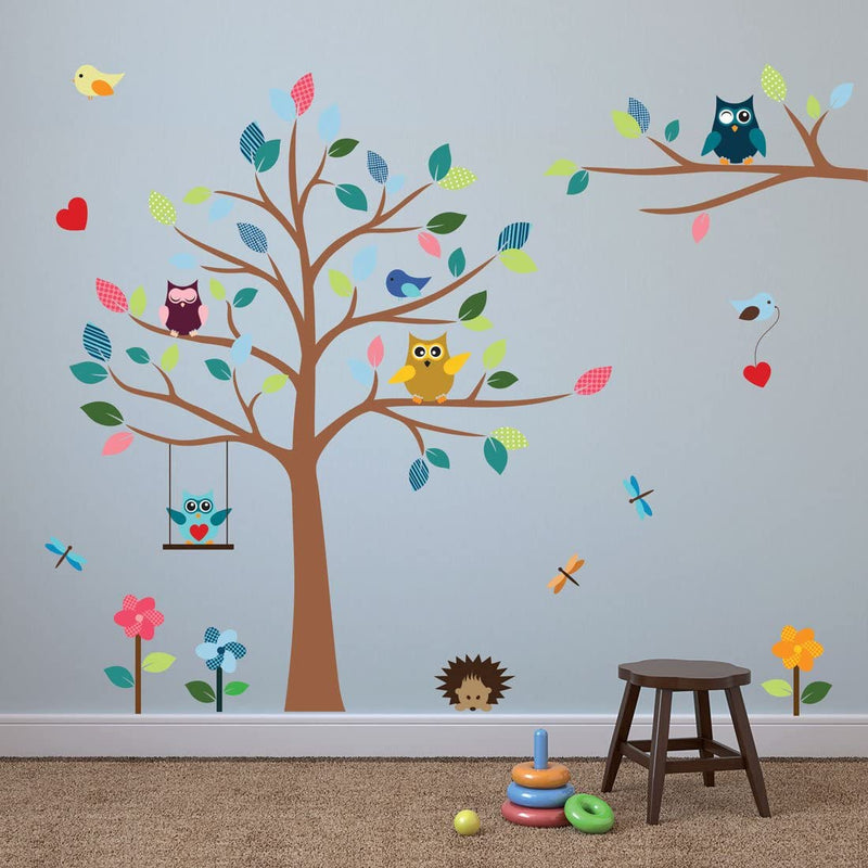 Cheerful-Nursery-Wall-Decals-with-Owls-&-Tree---Best-DŽcor-for-Kids-Ro
