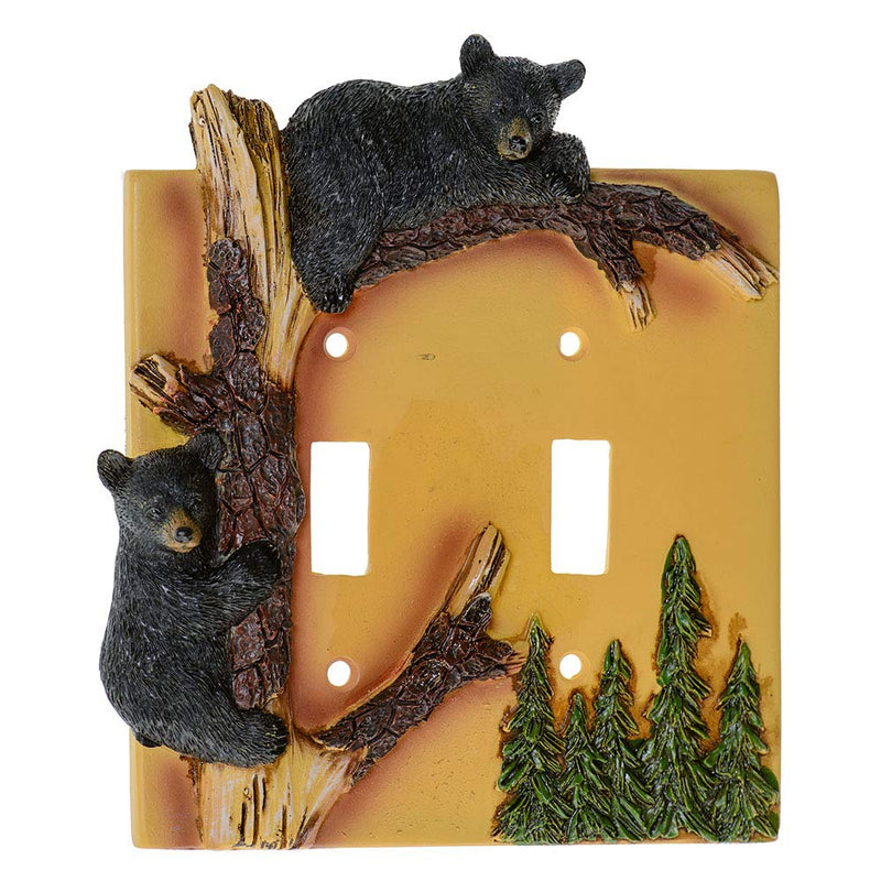 Black-Bear-Double-Switch-Cover-Home-Decor---Wildlife-Bear-Climbing-Tre