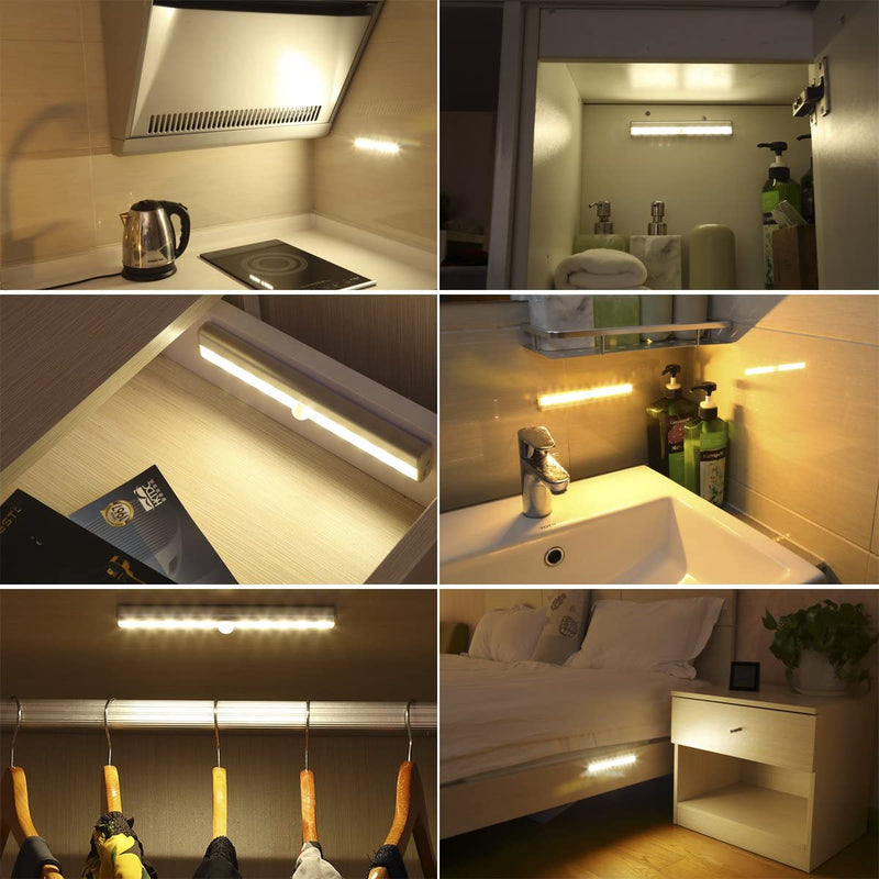 Motion-Sensing-Closet-Lights,-3-Pack-DIY-Stick-on-Anywhere-Portable-10-LED-Wireless-Cabinet-Night/Stairs/-Step-Light-Bar-with-Magnetic-Strip,-Puck-Lights-(Warm-White,-Battery-Operated)