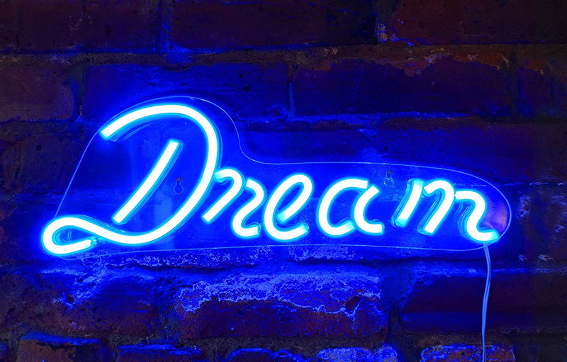 "17'-by-6'-inch-LED-Neon-Blue-""Dream""-Wall-Sign-for-Cool-Light,-Wall-Ar"