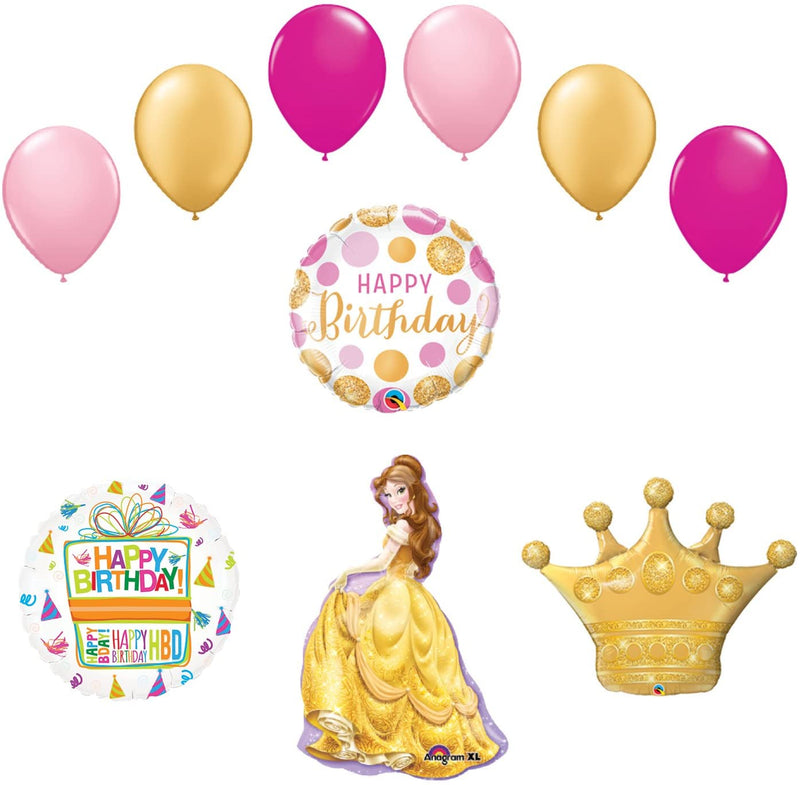 Beauty-and-The-Beast-Belle-Crown-Princess-Balloon-Birthday-Party-Suppl