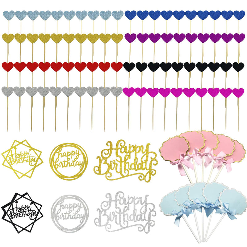 Seasonsky-96-PCS-Happy-Birthday-Cake-Decoration-Mixed-Color-Heart-Shap