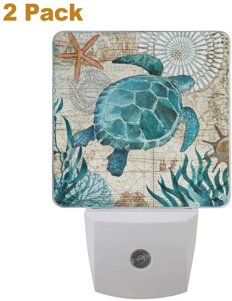 Vintage-Ocean-Turtle-Night-Light-Set-of-2-Sea-Starfish-World-Map-Plug-