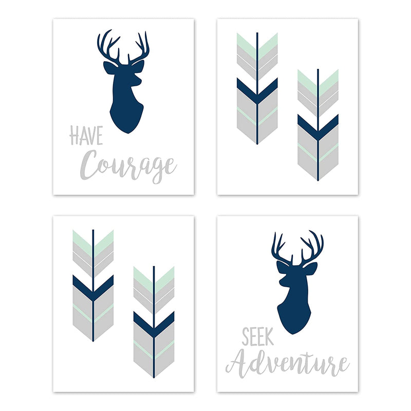 Navy-Blue,-Mint-and-Grey-Woodland-Deer-Wall-Art-Prints-Room-Decor-for-