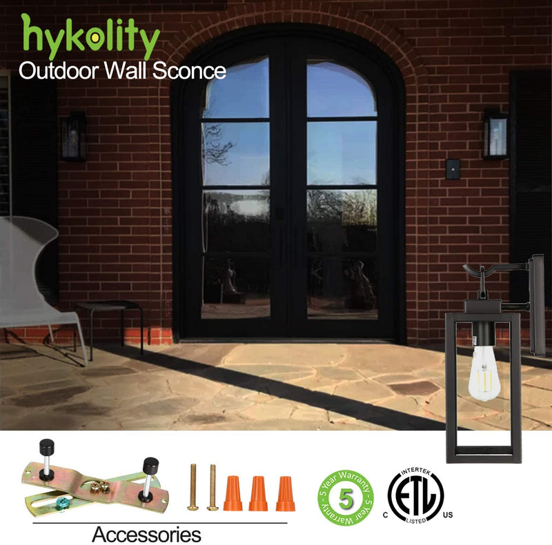 Hykolity-Outdoor-Wall-Lantern,-LED-Bulb-Included,-Matte-Black-Wall-Sco
