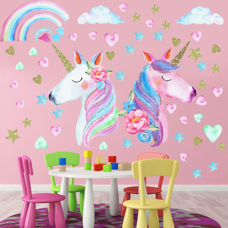 3-Sheets-Unicorn-Wall-Decal-Stickers,-Large-Size-Unicorn-Rainbow-Wall-