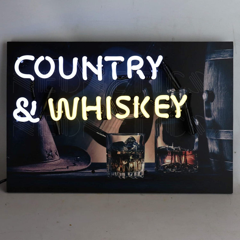 ,-White-and-Pale-Yellow-Country-and-Whiskey-Junior-Photographic-Neon-S