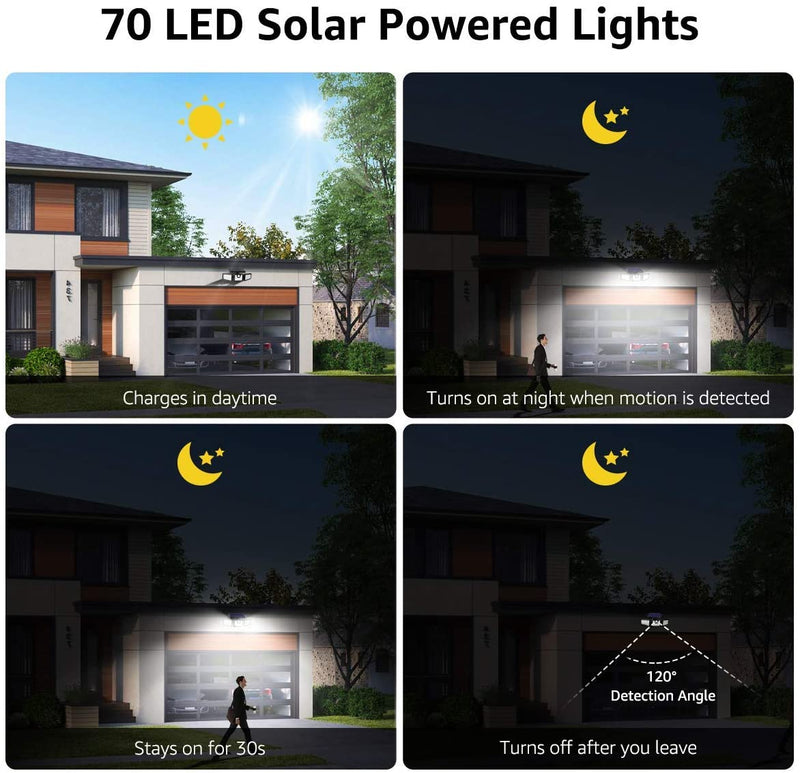 Bundle-–-2-Items:-32-D-Motion-Sensor-Solar-Lights-(4-Pack)-&-3-Head-Mo
